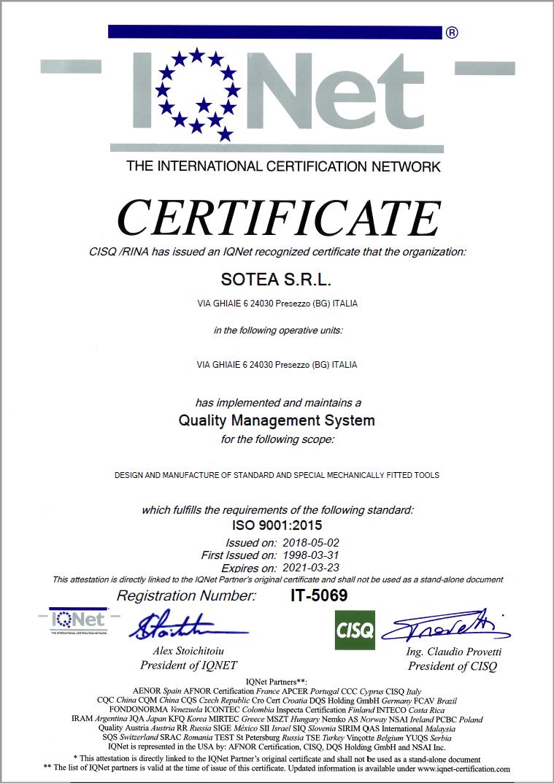 Certificato IQNet 2018
